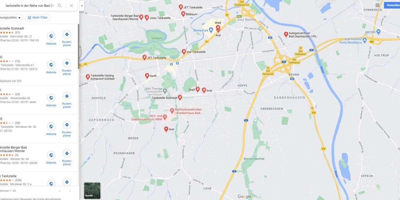 Google Maps zeigt Spritpreise der Tankstellen an