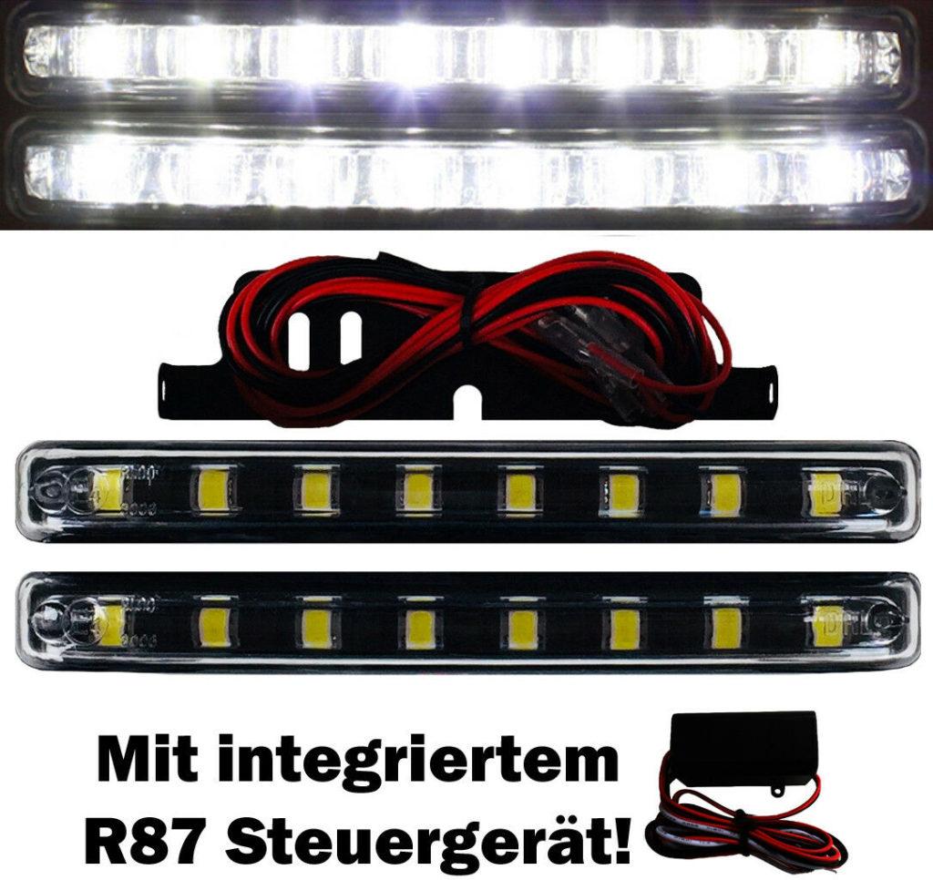 2x LED Tagfahrlicht +Steuergerät 8SMD schwarz E4 R87 TFL Xenon 6000K DRL M7