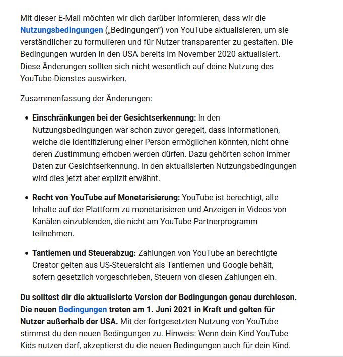 YouTube ändert Nutzungsbedingungen zum 01.06.21