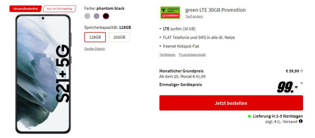 Galaxy S21+ 5G gibt es mit 30 GB LTE Datenvolumen und einer Allnet Flatrate für monatlich 39,99 Euro