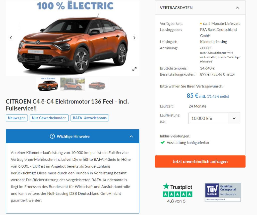 CITROEN C4 ë-C4 Elektromotor 136 Feel - incl. Fullservice!!