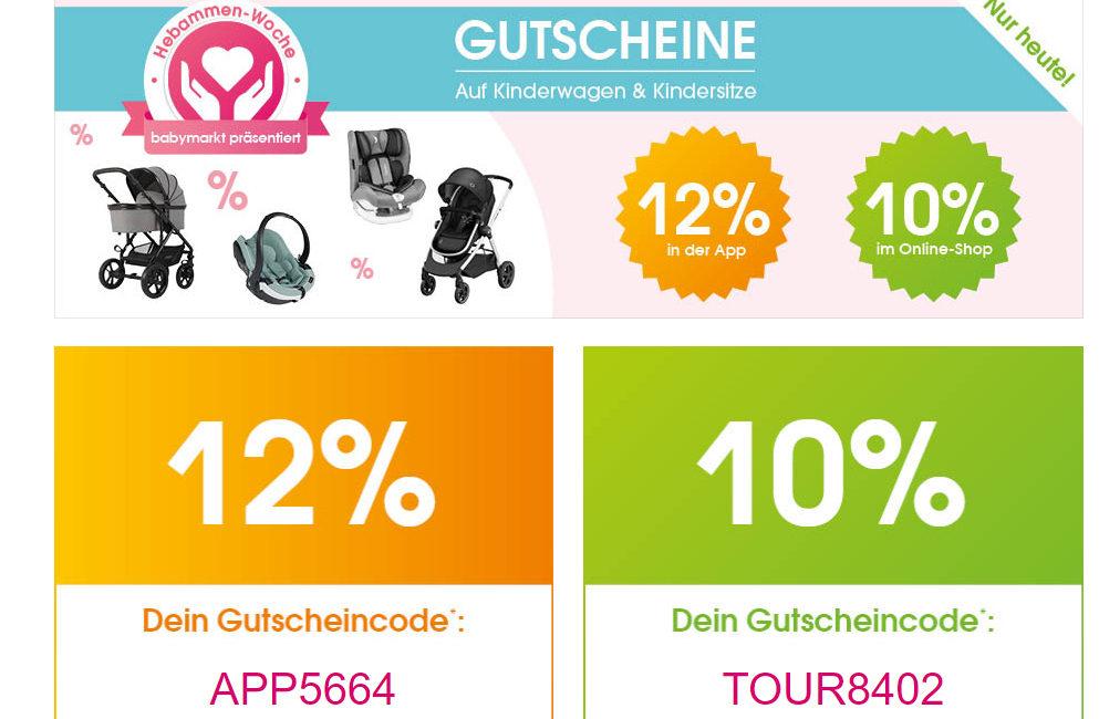 NUR HEUTE! 10%-Rabattaktion auf die Kategorien Kinderwagen und Kindersitze auf babymarkt.de