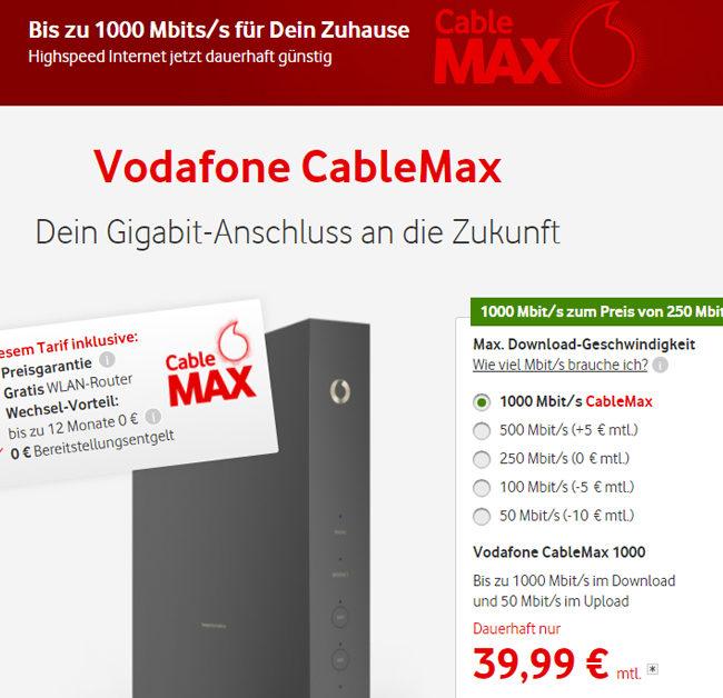 Vodafone CableMax - bis zu 1000 Mbits im Download für nur 39,99€ monatlich